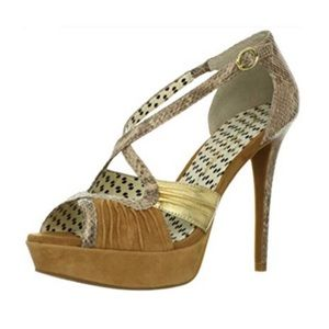 Jessica Simpson Brouge Open Toe Heel In Tan